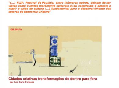 """""""Cidades criativas – transformações de dentro para fora"""""""