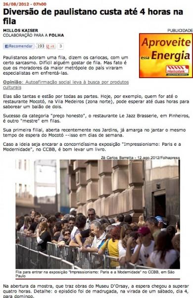"""""""Diversão de paulistano custa até quatro horas na fila"""""""
