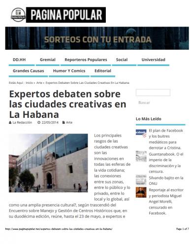 «Expertos debaten sobre las ciudades creativas en La Habana»