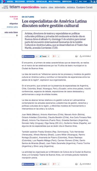 «Los Especialistas de América Latina discuten sobre gestión cultural»