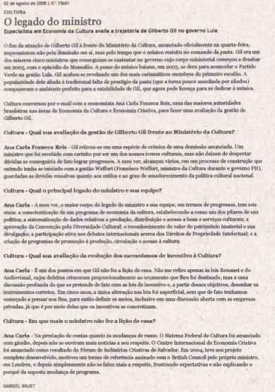 """""""O LEGADO DO MINISTRO"""""""