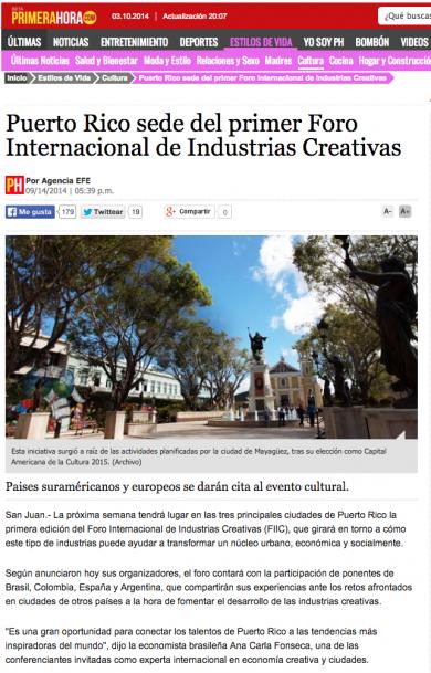 «Puerto Rico sede del primer Foro Internacional de Industrias Creativas»