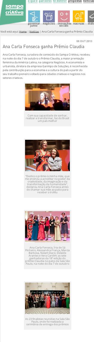 """""""Prêmio Claudia 2013 – Ana Carla Fonseca é vencedora da categoria Negócios"""""""