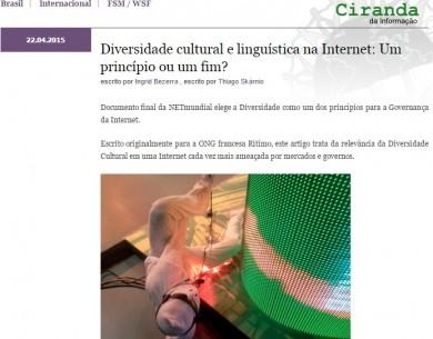 Diversidade cultural e linguística na Internet: Um princípio ou um fim?