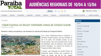 Cidade Expressa vai discutir mobilidade urbana de Campina Grande
