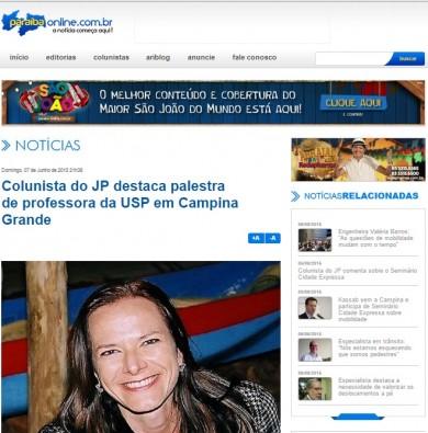 Colunista do JP destaca palestra de professora da USP em Campina Grande