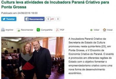 Cultura leva atividades da Incubadora Paraná Criativo para Ponta Grossa