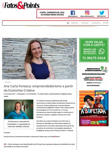Ana Carla Fonseca: empreendedorismo a partir da Economia Criativa