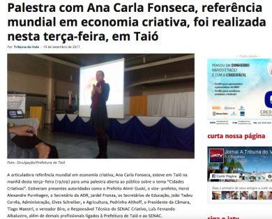 Palestra com Ana Carla Fonseca, referência mundial em economia criativa