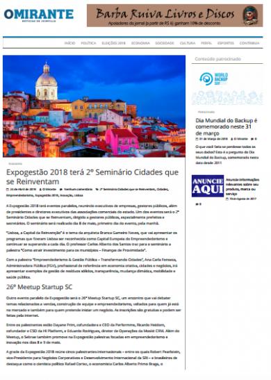 Expogestão 2018 terá 2º Seminário Cidades que se Reinventam
