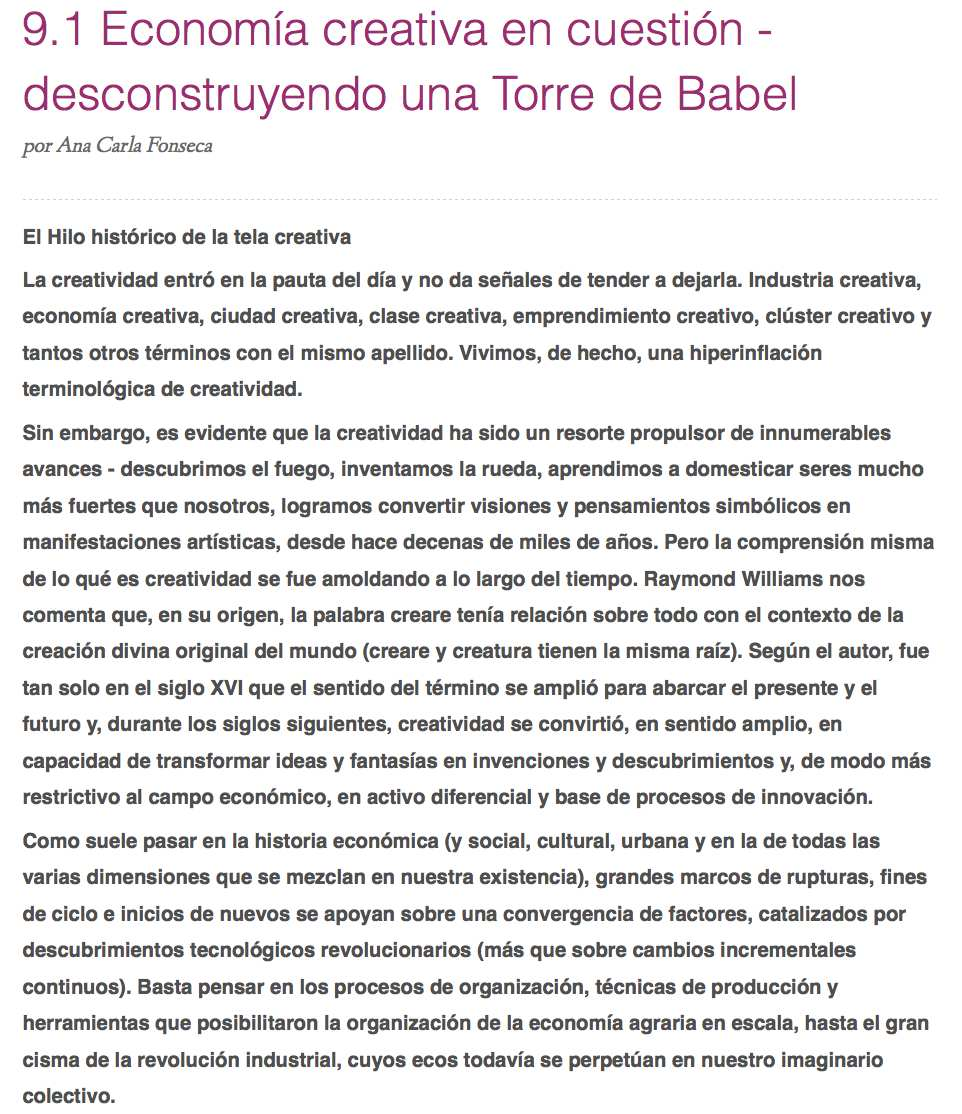 La Economía creativa en cuestión – desconstruyendo una Torre de Babel (Espanha)
