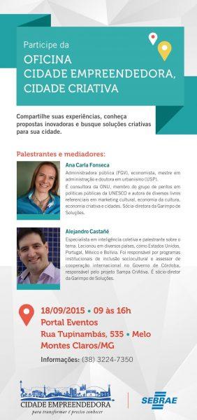 Oficinas Cidades Criativas  Empreendedoras de Minas Gerais Sebrae – Montes Claros